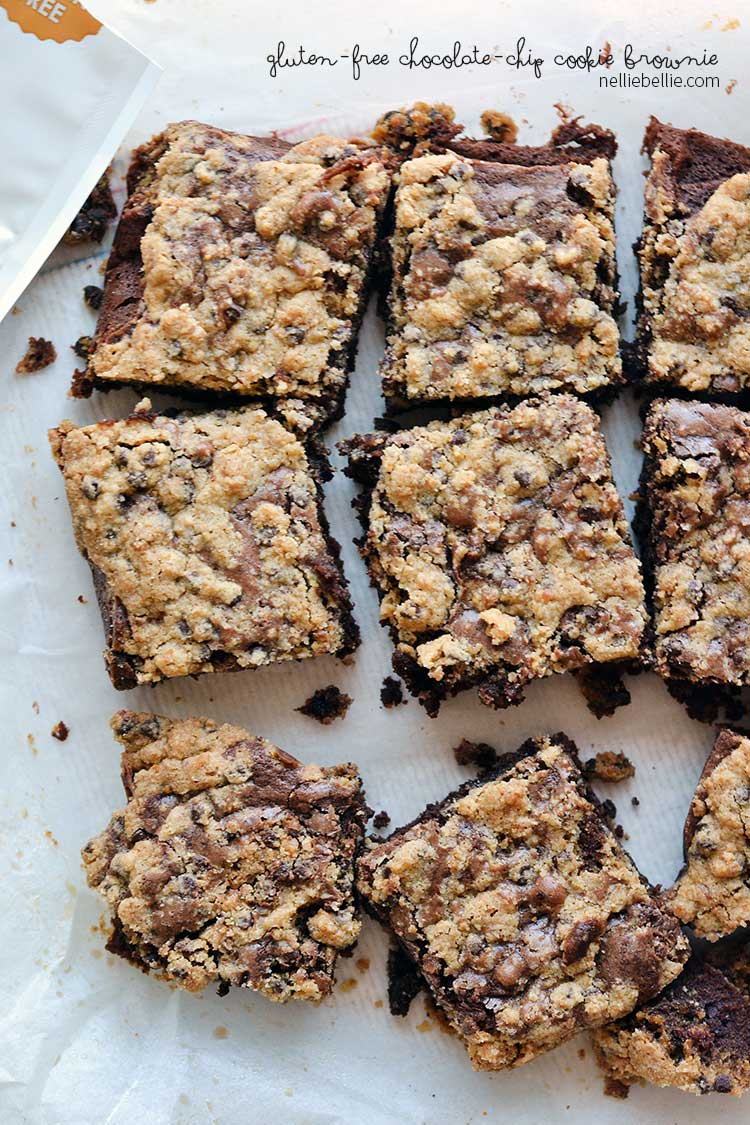 gluten free brownies with chocolate chip cookie topping