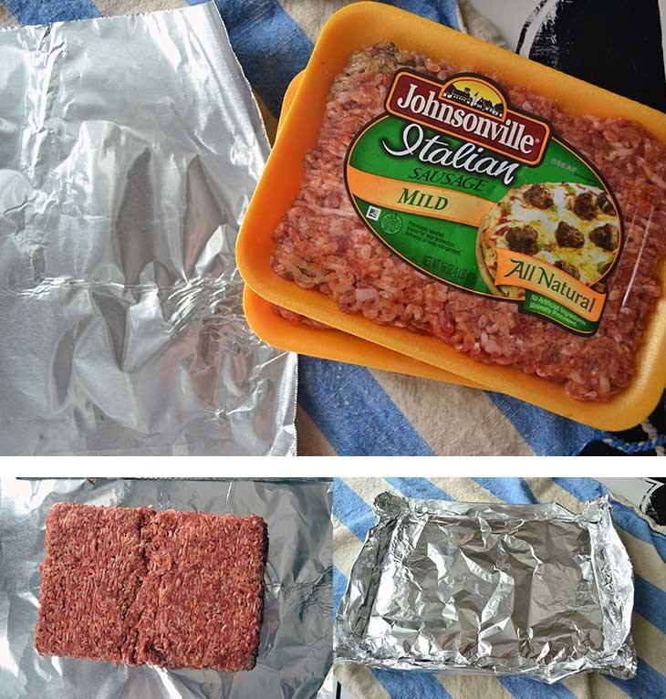 use packages of italian sausage and bake them in one piece to keep this fast and easy