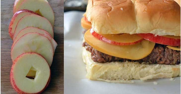 sliced apples help these sandwiches stay fresh and sweet.