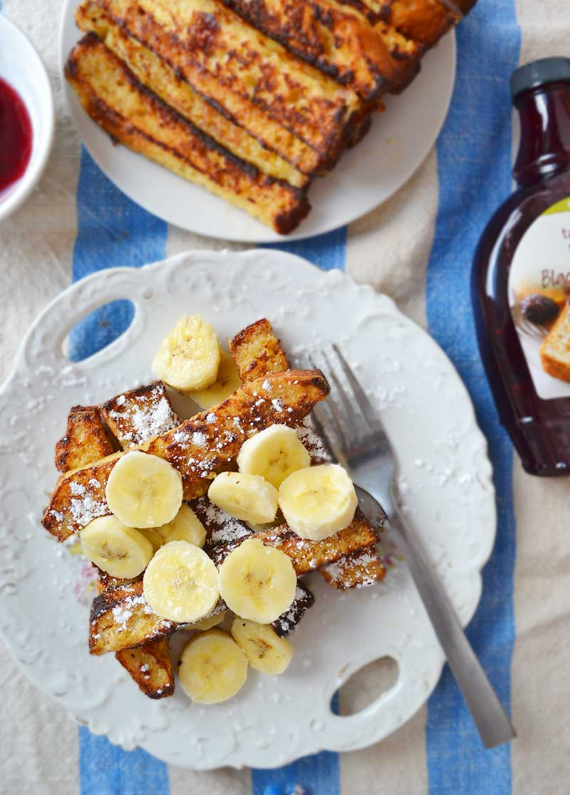 Banana bread french toast sticks. Easy to make and a fun twist on traditional french toast. A great Mother's Day brunch idea!