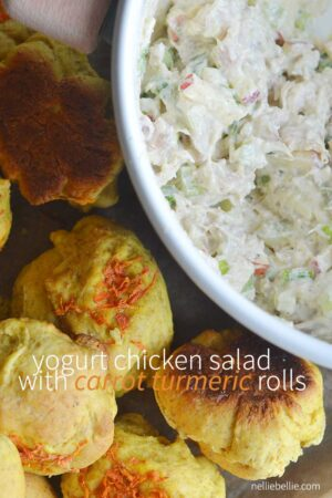Yogurt chicken salad with carrot turmeric rolls. Complete recipes for both on nelliebellie.com