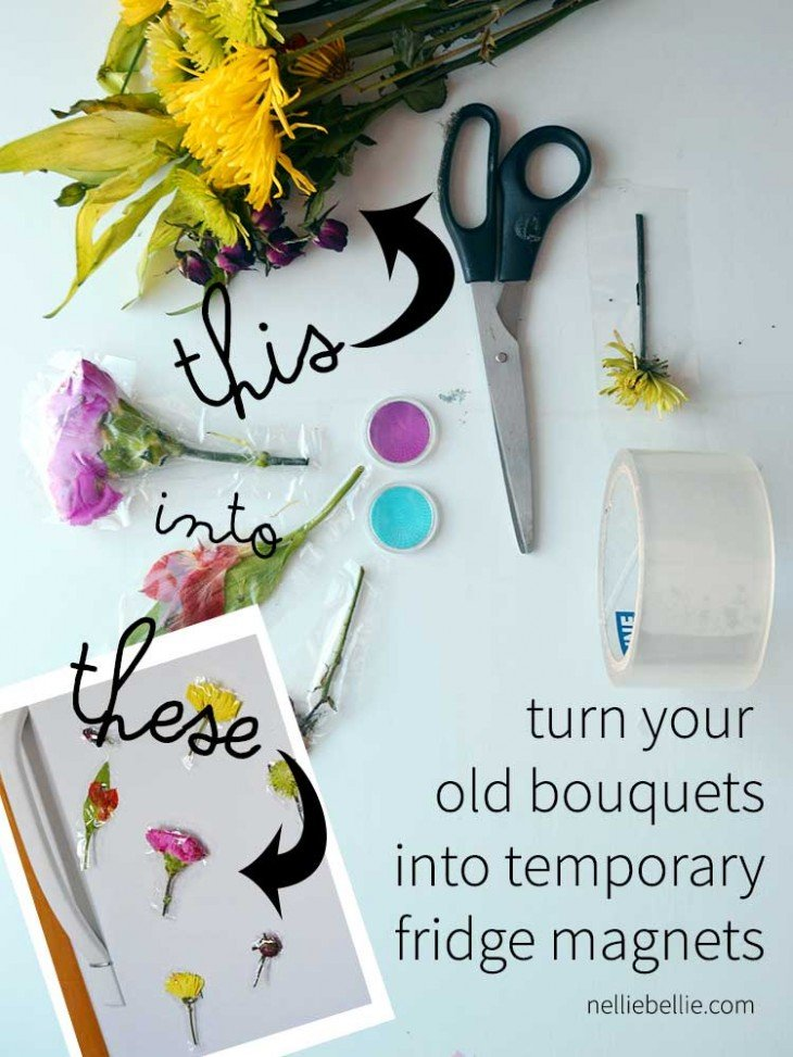 turn your old bouquets into temporary fridge magnets easily!