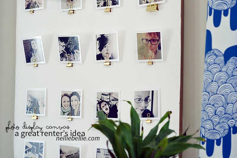 Create a photo display canvas -- a quick and easy renter-friendly photo display idea. #timeshelprints #Pmedia #ad