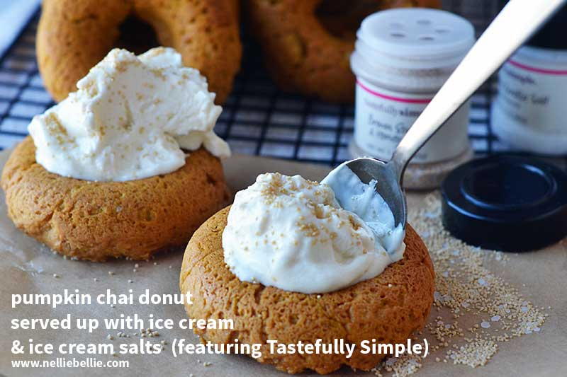 serve up 3 ingredient baked pumpkin donuts with ice cream and ice cream salts from @tastefullysimple
