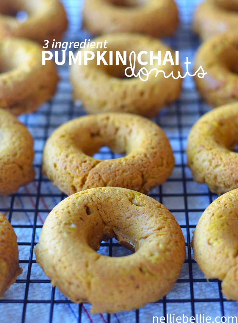 These baked pumpkin donuts are fast, easy, and oh so good! Only 3 ingredients to make. www.nelliebellie.com