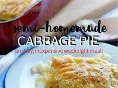 This semi-homemade cabbage pie utilizes puff pastry to help keep this dish easy to make, fast, and inexpensive. Perfect for busy families!