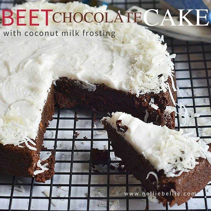 The pureed beets are subtle, but they make this cake moist and play up its deep chocolate flavor. The frosting is from coconut milk for deep coconut flavor!
