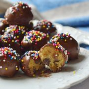 Chocolate covered chocolate chip cookie dough is easy to make and fantastic to eat!