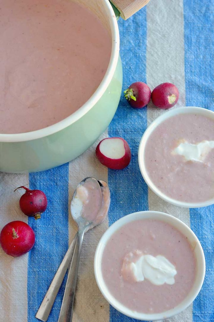 Creamy radish soup recipe is easy to make, and a great use of the lowly radish! This will become your favorite way to use radishes!