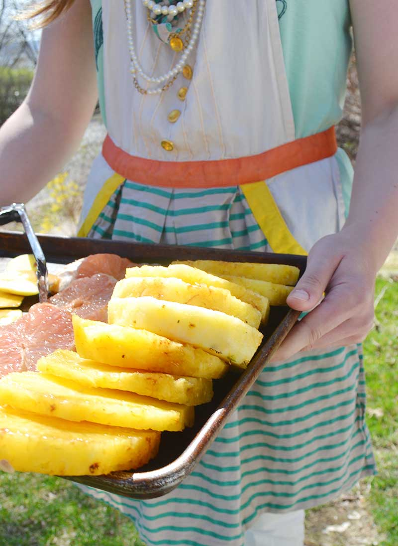 Grilled fruit and poundcake. An easy campfire dessert.