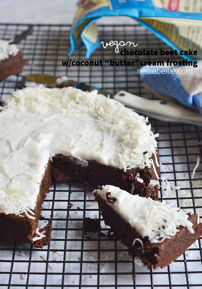 "Vegan Beet Chocolate cake with Coconut ""Butter"" Cream frosting. So yummy!"