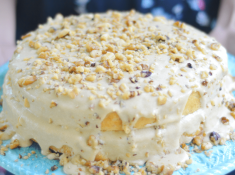 Dairy-free Banana Cake with Penuche, using @BobsRedMill flour and almond milk. #ad #yum