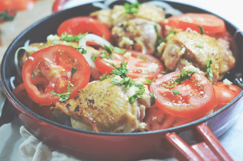 Chicken and Tomato Cobbler Recipe. A one-dish, easy, nutritional family meal.