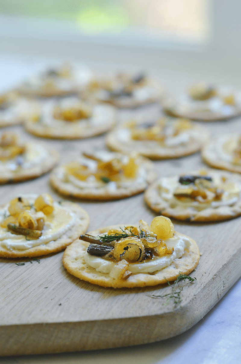 Gluten-free crackers with whipped goat cheese and ramps. Can sub onions and garlic if ramps aren't available. #BretonGlutenFree #CleverGirls