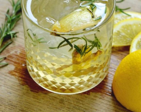 rosemary lemon ginger gin cocktail.