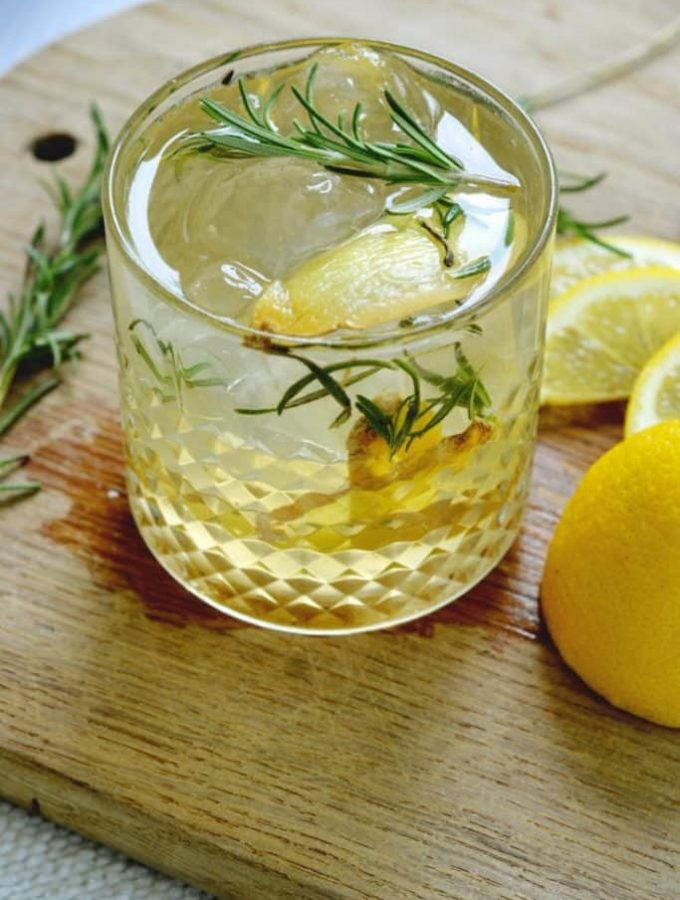 rosemary lemon ginger gin cocktail.