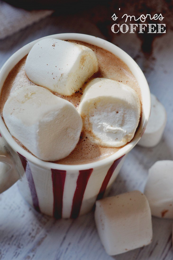 smores coffee recipe. Marshmallow, chocolate, and coffee with a hint of graham. Delicious!