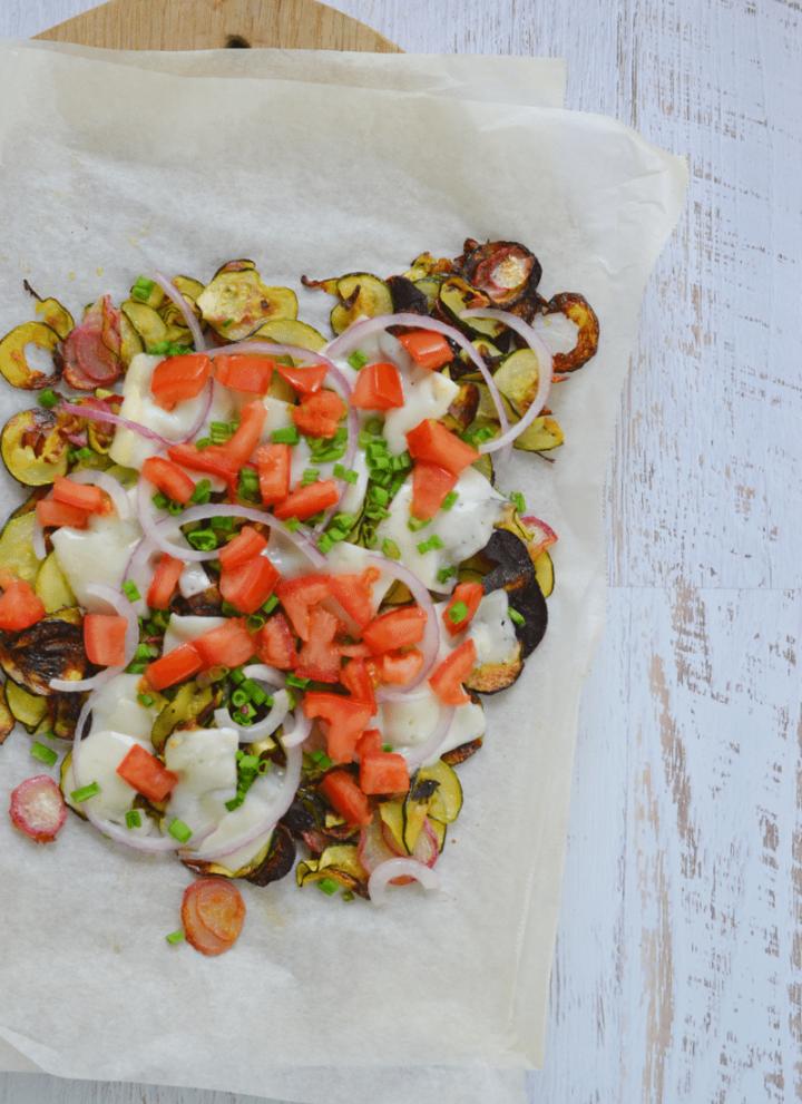Veggie Nachos – veggies and cheese for days!