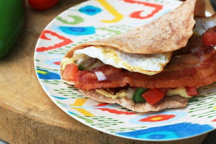 Breakfast tacos! With egg, hummus, bacon, and pico de gallo. Yum!