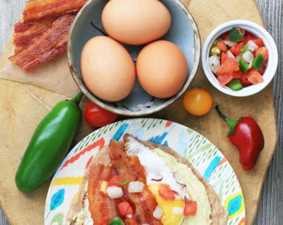 Egg, hummus, and bacon breakfast tacos. Lots of flavor here!