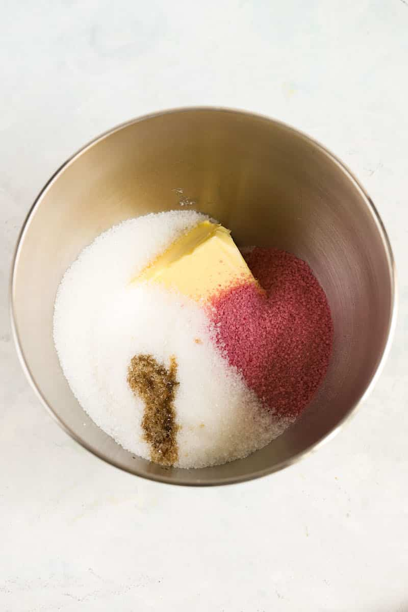 strawberry cake ingredients in bowl
