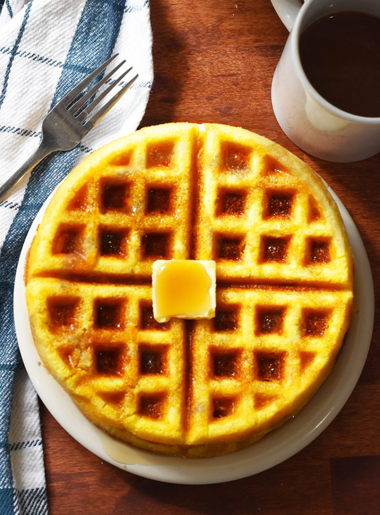 cornbread waffles made with Jiffy cornbread mix