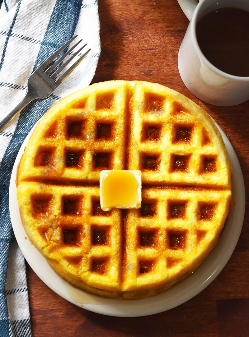 these Cornbread Waffles made with Jiffy cornbread mix and a few easy pantry ingredients. Easy family breakfast that is super fast, simple, and delicious!