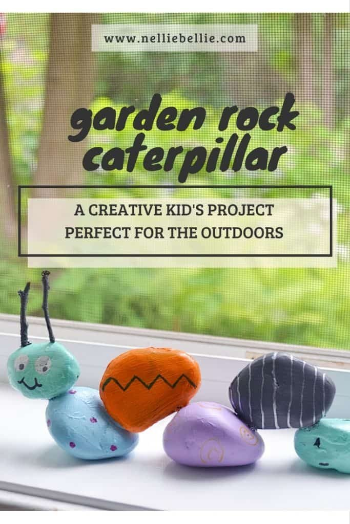 Garden rock caterpillar, an easy craft for kids and gardens