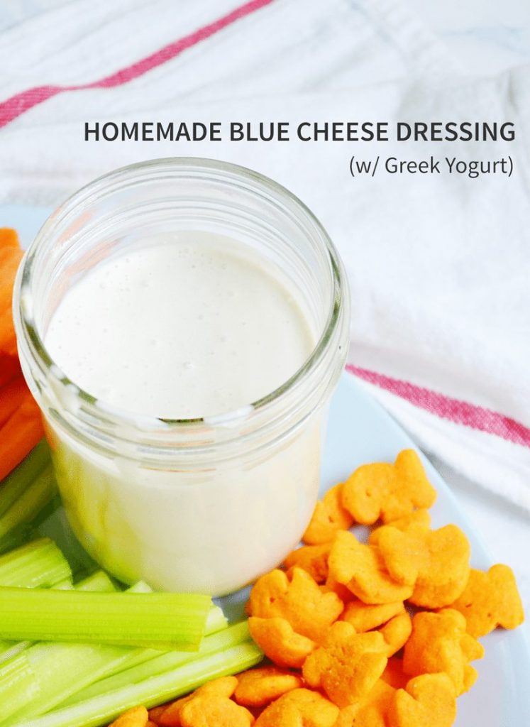 Homemade blue cheese dressing is perfect to go with celery, carrots, and crackers. #GoldfishTales #ad