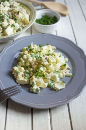This cauliflower potato salad is easy to make and tastes just like the original version. You won't believe it!