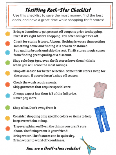 How to Thrift Shop checklist