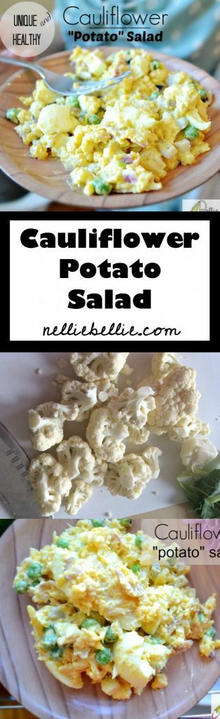 A delicious version of the classic potato salad featuring cauliflower instead of potatoes. Delicious, much healthier, and easy to make! #cauliflower #potatosalad #lowcarb