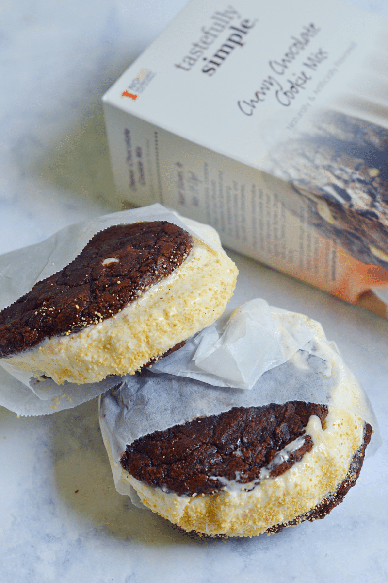Ice cream sandwiches are tasty with ice cream salts or sprinkles!