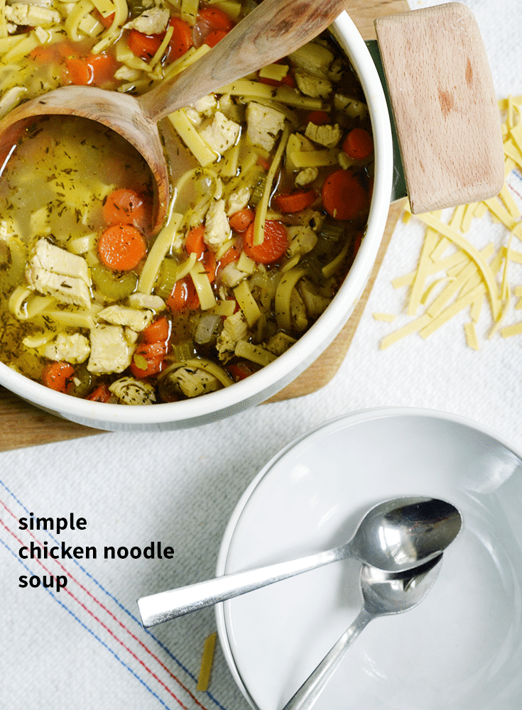 Keep supper easy with this simple and delicious and easy chicken noodle soup recipe that makes fantastic leftovers for lunch the next day! #SadDeskLunch #Sponsored