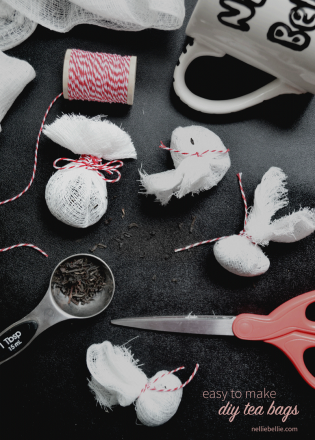 DIY tea bags are easy to make from muslin, scissors, and twine. All easy to find materials in your store's kitchen department.
