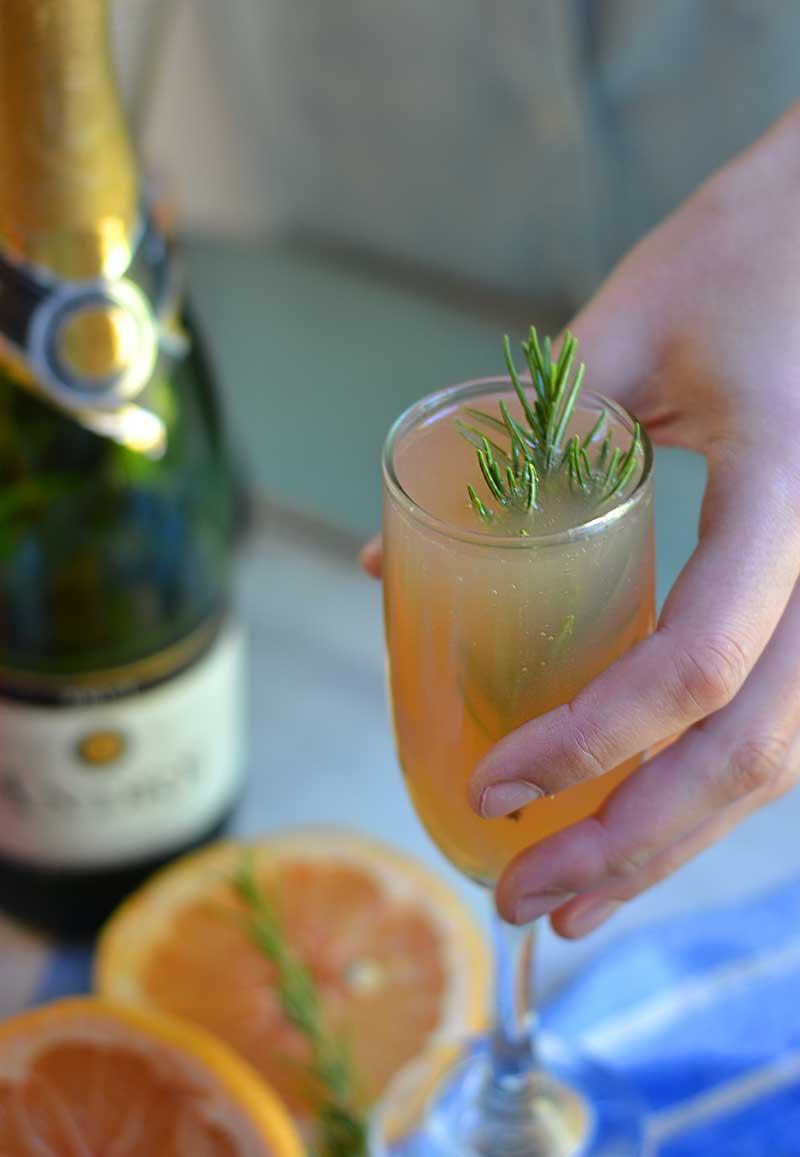 grapefruit rosemary mimosa cocktail recipe.