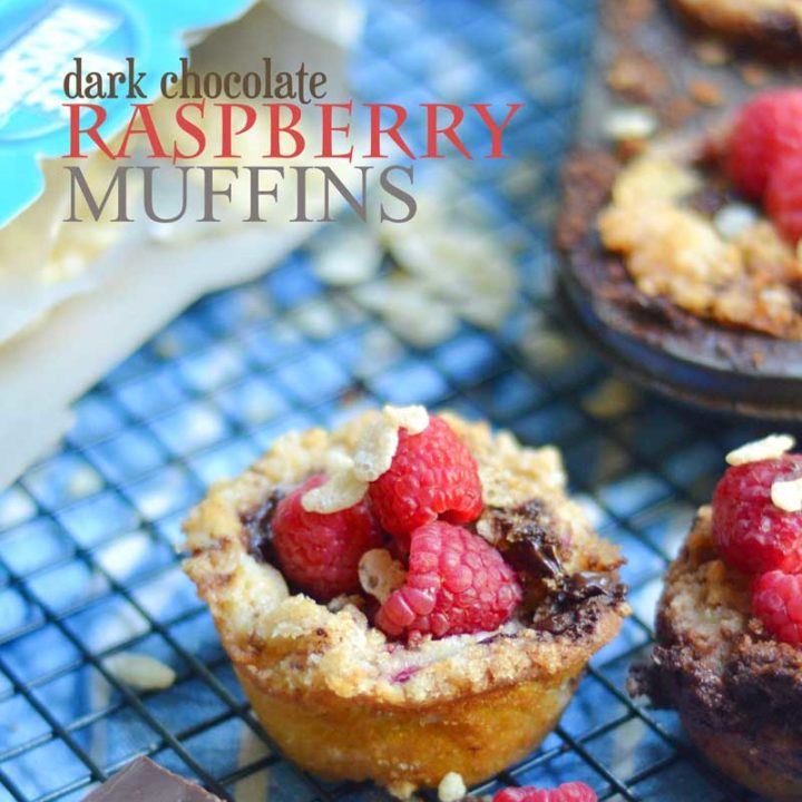 Dark Chocolate Raspberry Muffins made with Rice Krispies. These are gluten-free with a crisp crumble topping. They sure don't look like much but don't be fooled, these muffins are AMAZING!