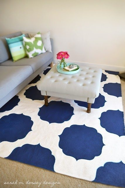 diy painted rug is a great cheap diy area rug idea! One of many cheap