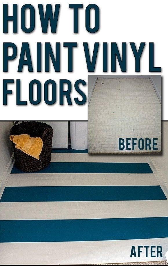 How to paint vinyl floors. A great diy cheap flooring idea!