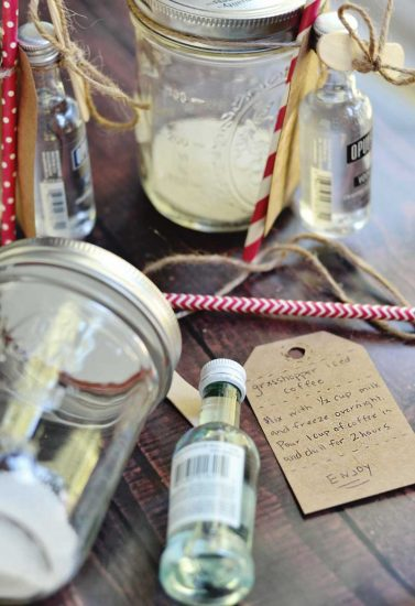 Iced coffee cocktails are great to prepare in jars for gifting. A great homemade gift from your kitchen for the coffee lover!