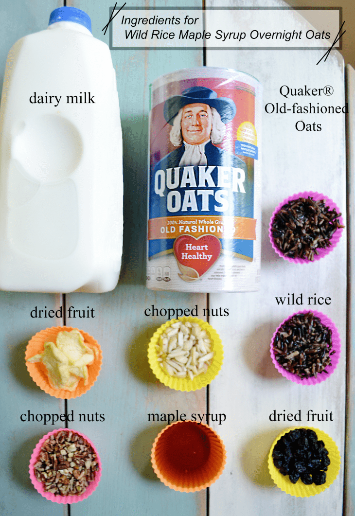 Quaker® Old-fashioned Oats combine with wild rice and blueberries for this delicious overnight oatmeal!