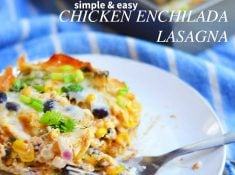Easy to make chicken enchilada lasagna is a meal your family will love! Uses no-boil noodles, pre-seasoned meat and corn, and a simple to make sauce. This is a delicious and easy meal!