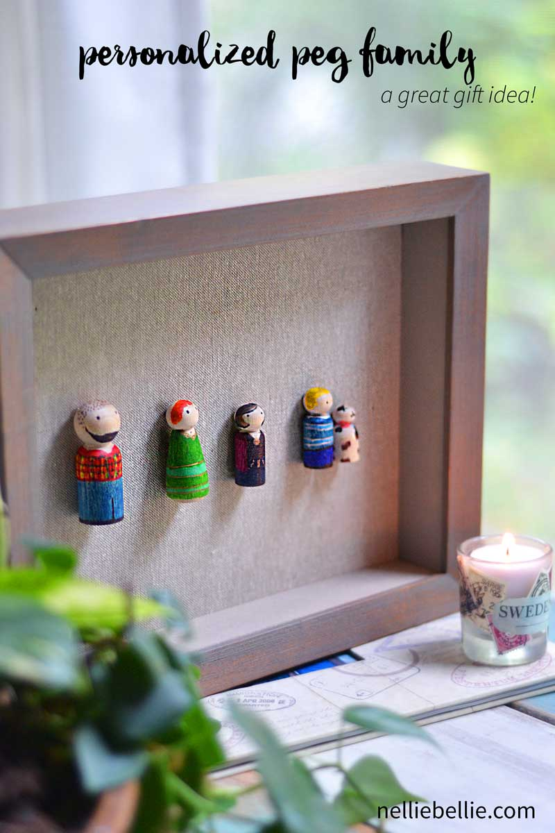 This personalized gift idea is an easy diy craft that you can make and gift. Or, keep for yourself. Using only Sharpies, wooden pegs, glue, and a shadow box, NellieBellie will give you the full tutorial.