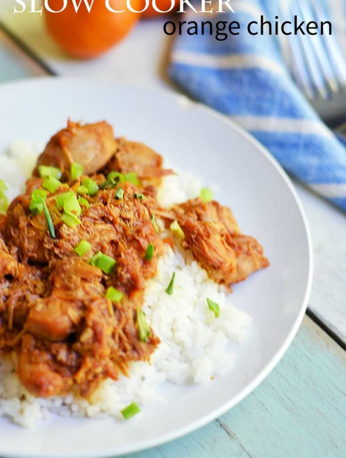 Slow cooker orange chicken with 5 minutes of prep time. A fix an forget it meal the family will love!