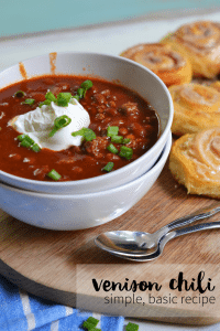 Venison Chili. This is an easy and basic chili recipe for the chili newbie. Very few ingredients and easy to follow directions. Venison is optional but tips for making your chili with dry ground meat (like venison) is included.