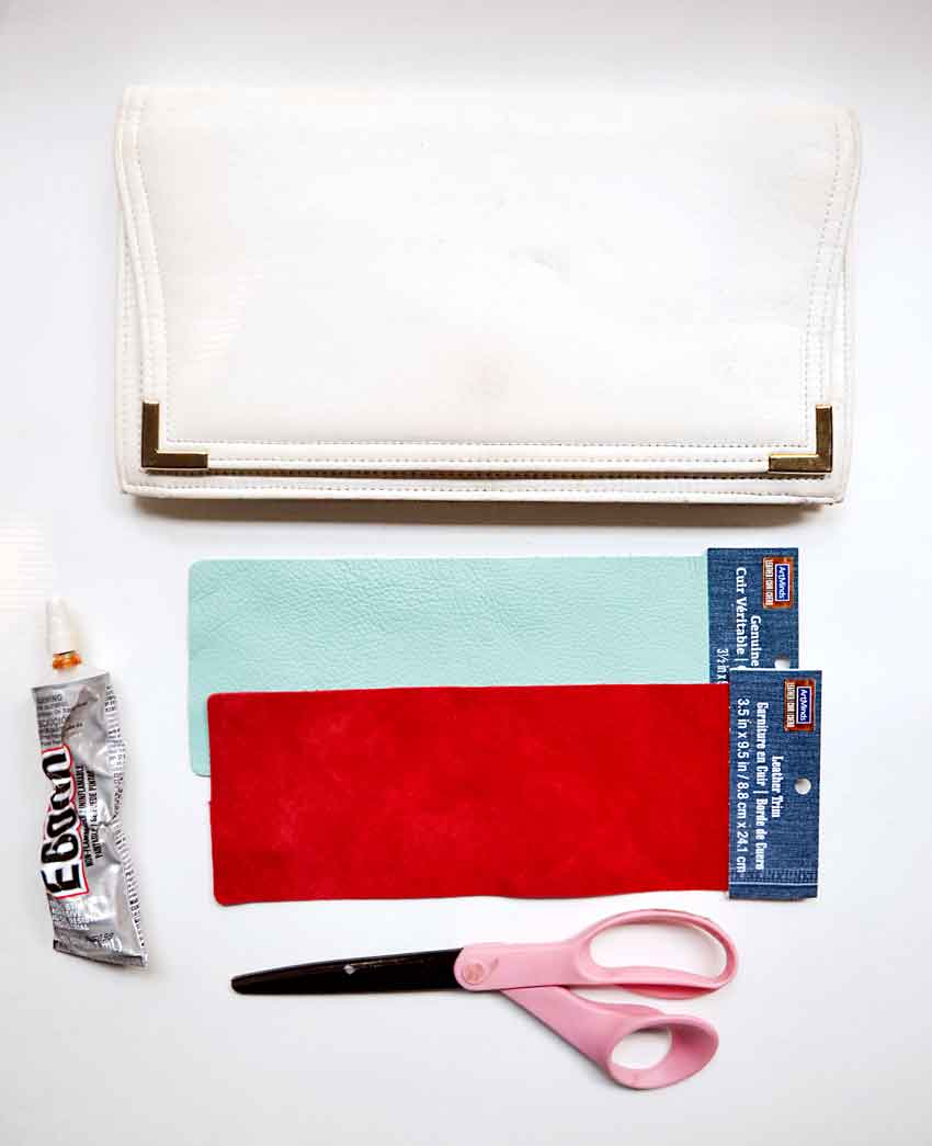 You only need a few, easy to find materials from your craft store to update a dated clutch into a trendy fringe bag.
