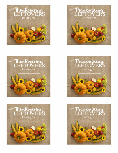 Thanksgiving leftovers printable