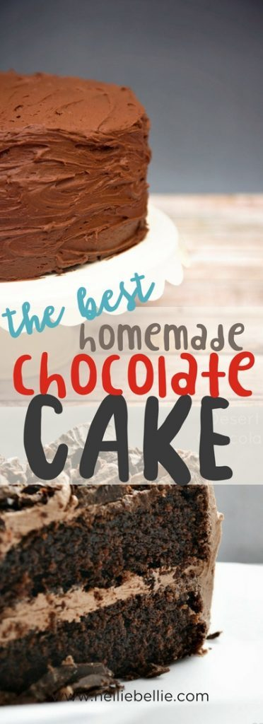 an easy homemade chocolate cake from scratch recipe that you'll love! #chocolatecake #fromscratch #homemade #easy