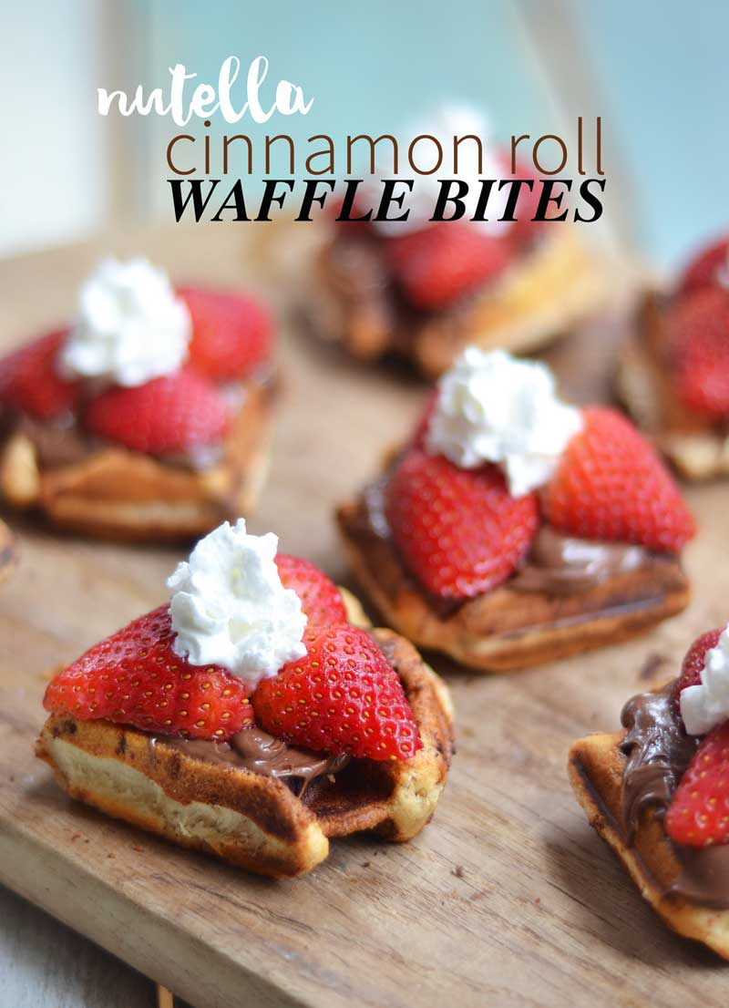 Nutella Cinnamon Roll waffle bites. Easy to make, fun to eat, and so fast you'll have them ready for breakfast in no time!