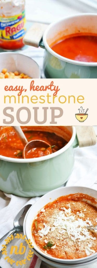 Minestrone Soup recipe is fast, easy, and simple to make. It's perfect for a quick dinner on a chilly, winter evening. Hearty, nutritious, and comforting! It uses jarred sauce to help speed up the recipe.